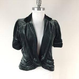 Anthropologie S 6 Elevenses Green Velvet bolero